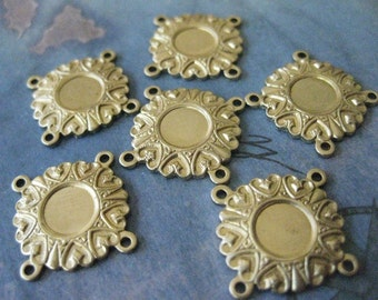 6 PC Raw Brass Bezel Setting - 4 way Connector Finding - Y016