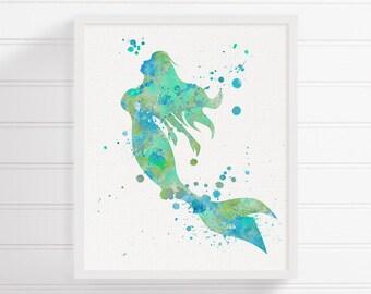 Watercolor Mermaid, Mermaid Art Print, Mermaid Painting, Mermaid Wall Art, Mermaid Wall Decor, Nursery Wall Decor, Bathroom Decor, Nautical