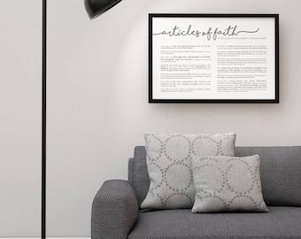 Horizontal Articles of Faith Print- LDS- Various Sizes