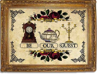 Be Our Guest - Beauty and the Beast Vintage Disney Style Print - Multiple Sizes 5x7, 8x10, 11x14, 16x20, 18x24, 20x24, 24x36