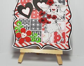 Card, wife, anniversary, birthday, congratulations, any occasion, fabric, handmade