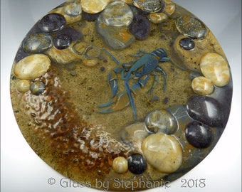 "WATER'S EDGE - Rolling Rocks and Crayfish/Yabby - Art Glass ""Plate"" Display by Stephanie Gough sra fhfteam leteam"