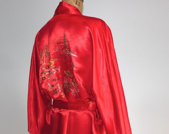 50s Vintage Chinese Hand Embroidered Red Silk Robe Chinese Dragon Silk Robe Chinese Kimono Chinese Silk Kimono Chinese dressing gown Small