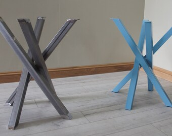Industrial desk or dining table legs heavy structural steel funky metal steel table legs for round square shaped dining table by stoaked customisable watchthetrailerfo