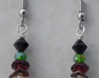 Beaded Sterling Silver Wire Wrapped Earrings
