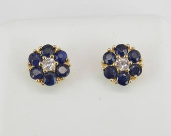 White and Blue Sapphire Stud Earrings Flower Wedding Studs 14K Yellow Gold
