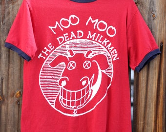 Vintage 1990's Moo Moo The Dead Milkmen Punk Rock Burgundy Small T shirt