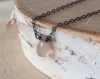 Moonstone necklace. Simple feminine necklace. Handmade jewelry.