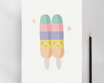 Ice Pop, Modern Nursery Kids Wall Art Print