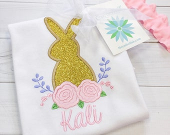 Gold Glitter Floral Easter Bunny Personalized Girls Shirt,Monogrammed Applique Shirt  Embroidered, Personalized, Monogram, Easter Girl Shirt