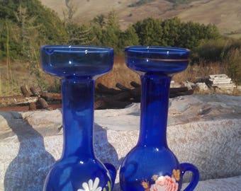 Vintage Blue Glass Oil & Vinegar Set, Oil and Vinegar Servig Set, Blue glass Oil Jars