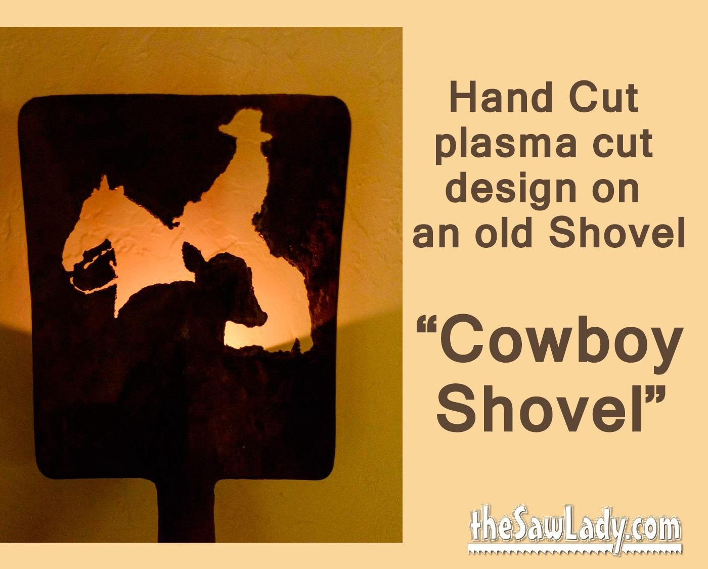 Metal Art Cowboy and Calf design Hand plasma Cut Shovel