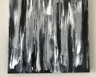 Abstract Acrylic painting - black, white and silver on 10x10 canvas