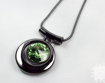 Green Peridot Swarovski Crystal Pendant Sleek Modern Neckalce Gunmetal Snake Chain