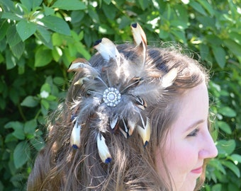 feather hair piece clip Great Gatsby style pheasant barrette