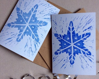 Pack of 2 Blue Snowflake Linoprint Greeting Cards with Vegan Envelopes (Blank) - Made from 100% Recycled Card and Compostable Packaging
