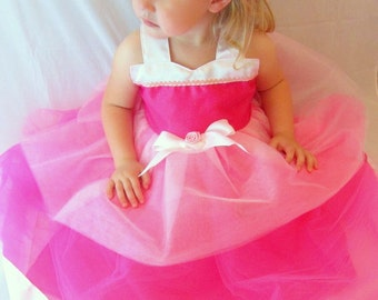Sleeping Beauty Dress, Aurora: Hot Pink Light Pink and White lined tutu dress, glitter and sparkle, princess birthday party or dinner, trip