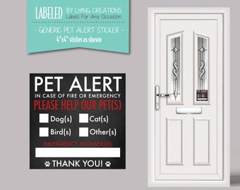 pet alert sticker - emergency safety rescue pet sticker - pet sign - please  help our