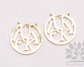 P627-G// Gold Plated Round Lucky Pendant, 2 pcs