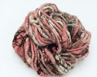 """Handspun Art Yarn, """"Neapolitan"""", 25 yards, corespun textured art yarn, coils, bulky yarn, weaving yarn"""