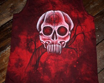 Hand dyed hand painted unique gothic blood red skull paint tank size M
