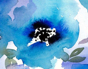Lady Blue - Watercolor Painting - 11x14 Giclee Digital Print - Nature - Flowers - Abstract - Gift for Her - Art - Floral