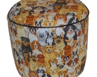 Sitting group dogs fabric pouf 1509