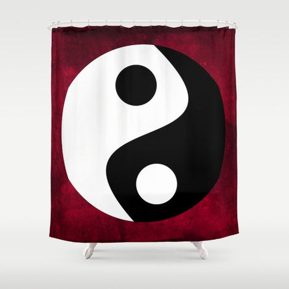Yin and Yang Shower Curtain, Symbolism Bathroom, Red Black White Home Decor, Buddhist Symbol, Chinese Home Decor, Zen, Buddhism, Dorm, Hotel