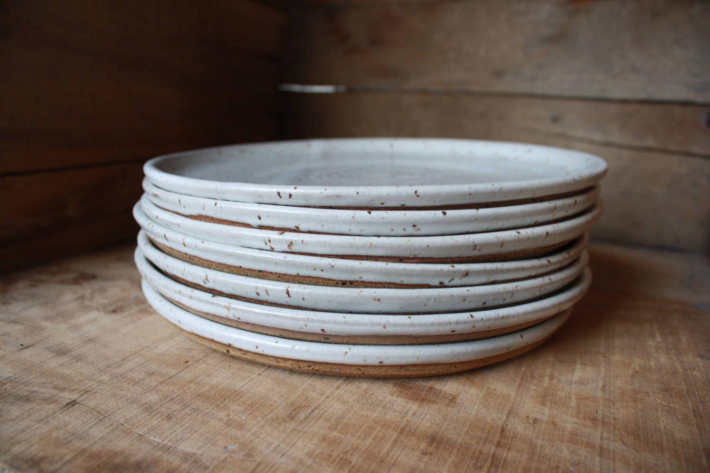 & Set of 4 - Dinner Plates - Speckled White - KJ Pottery
