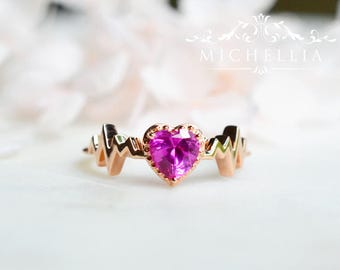 LAST ONE - Ready to Ship - Heartbeat Ring in Lab Ruby, 14K Rose Gold and Size 7, R4005