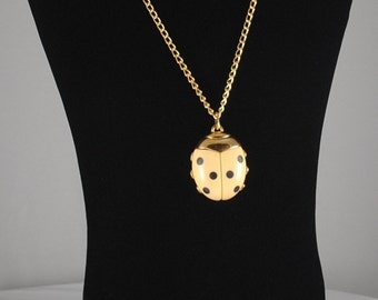 Vintage Large Ivory Colored Ladybug Pendant