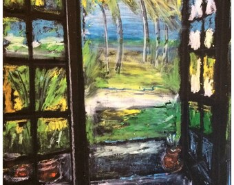 Ocean Art - Beach Art - Island Art - Wall Art - Original Oil Pastel - Leah Reynolds