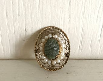 Antique Vintage Green White and Gold Brooch - Vintage Fashion