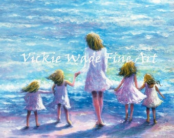 Mother Four Blonde Daughters Beach Art Print, four sisters, four girls, beach sisters, beach wall art, mother's day gift, Vickie Wade Art
