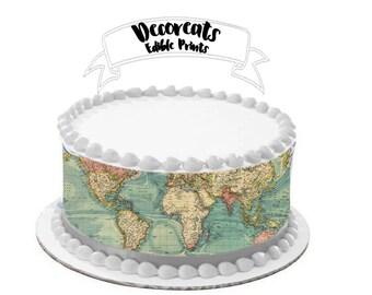 World map, Cake Wrap, Frosting stripes, World map Cake Topper, World Map cake,