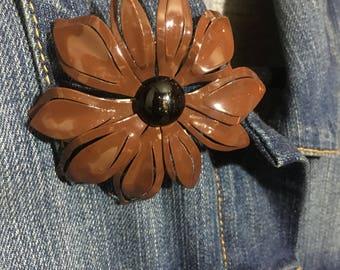 Vintage Brown Metal Flower Brooch