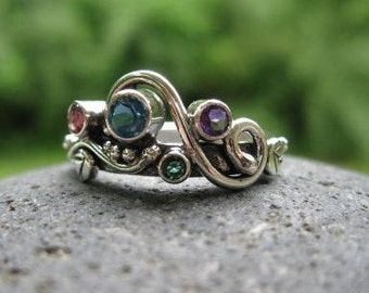 unique multi stone mothers ring. 4 or 5 or 6 birthstones set in sterling silver . (( Wild Garden Mother's Ring )) . made to order