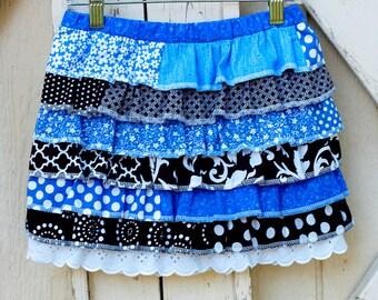 Little Girls Ruffled Skirt Little Girls Custom Skirt  Multicolored Skirt Little Girl's Skirt Ruffled Skirt , Sizes 6 month through 12