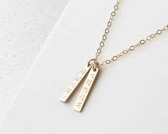 Skinny Tag Coordinates Necklace - personalised gold tag necklace - vertical bar necklace - custom coordinates - gold filled bar necklace