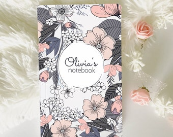 Custom Diary, Travel Journal, Custom Name Notebook, Notebook Journal, Personalized Notebook, Monogrammed Notebook, Lined Notebook.