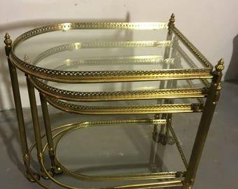 3erSet tea cart trolley brass 50s trolley set of three Teatrolleys brass 50's