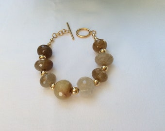 Gold and Agate Bracelet on Vermeil