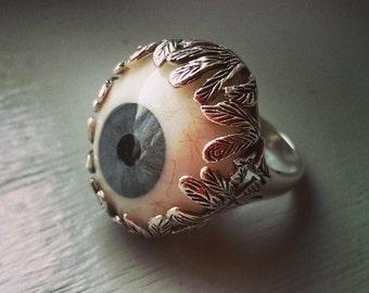 Prosthetic glass eye ring, Sterling silver, Evil eye