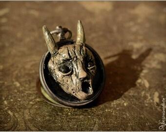 Wood scream or singing tree Greenman B sculpture in vintage pocket watch case locket with art print - wall art - Artwork painting sculpt