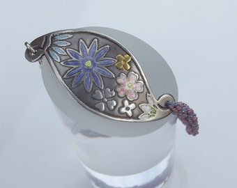 Enamel flower silver and silk bracelet