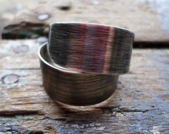 Sterling Silver Hoop Earrings, Large Steel Brushed Sterling Hoops, Modern Contemporary Urban Handwrought Hoop, Handmade Silver Jewelry