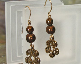 Earrings: Bronze Glass Pearls with a Celtic Knot Charm ~ 14Kt Gold-Filled French Hook Earrings