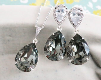 Bridesmaid Bridal Earrings Necklace Jewelry Set, Wedding gifts idea, Grey Black Diamond Swarovski Crystal Teardrop Cubic Zirconia, Sandra