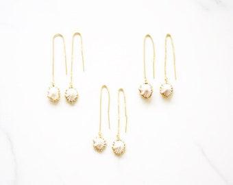 White Opihi Threader Earrings