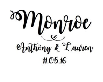 Wedding Decal, Personalized Name Decal, Vinyl Decal